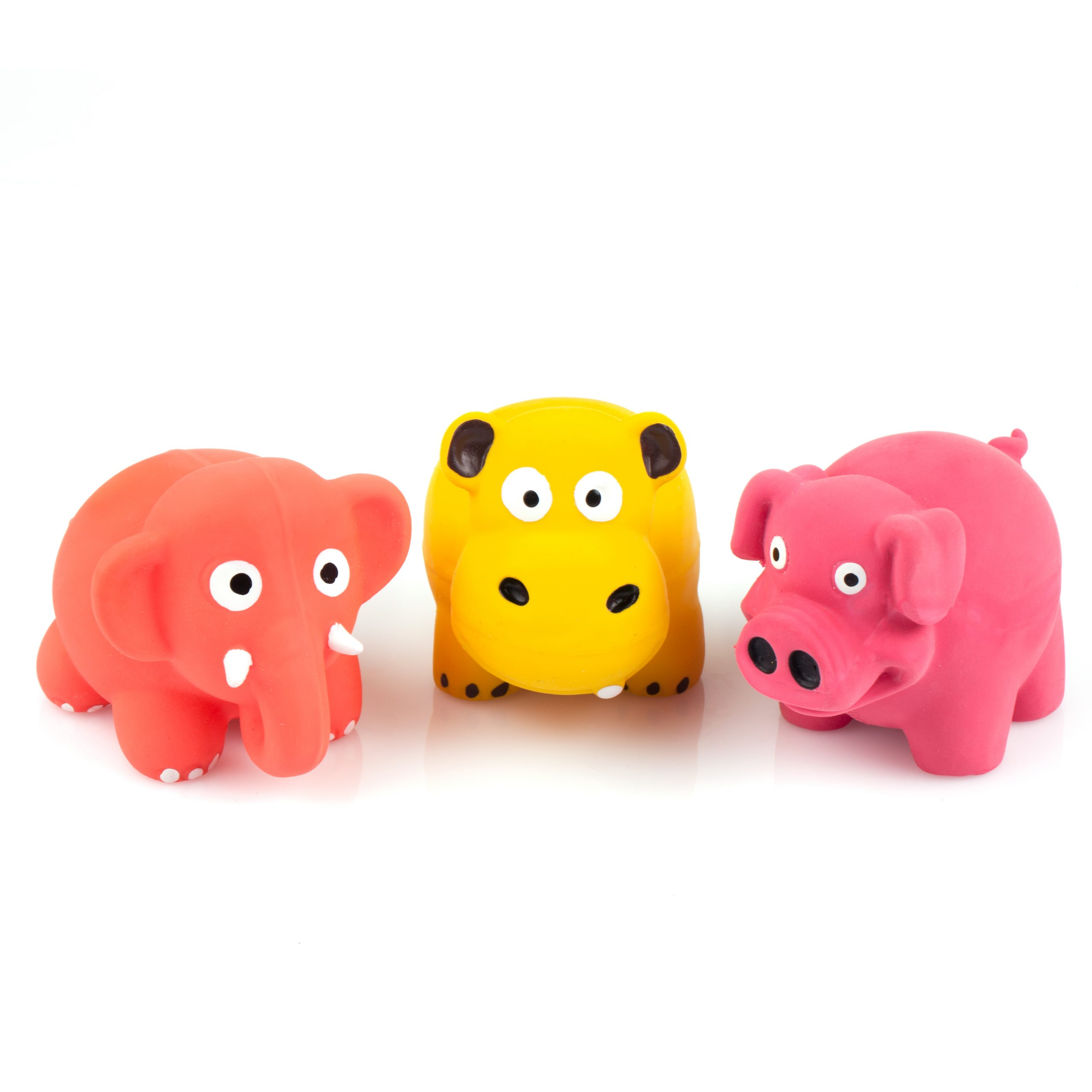 """Chiwava 3 Pack 3.1"""" Squeak Latex Puppy Toy Lovely Standing Animal Sets Pet Interactive Play for Small Dogs Assorted Color"""