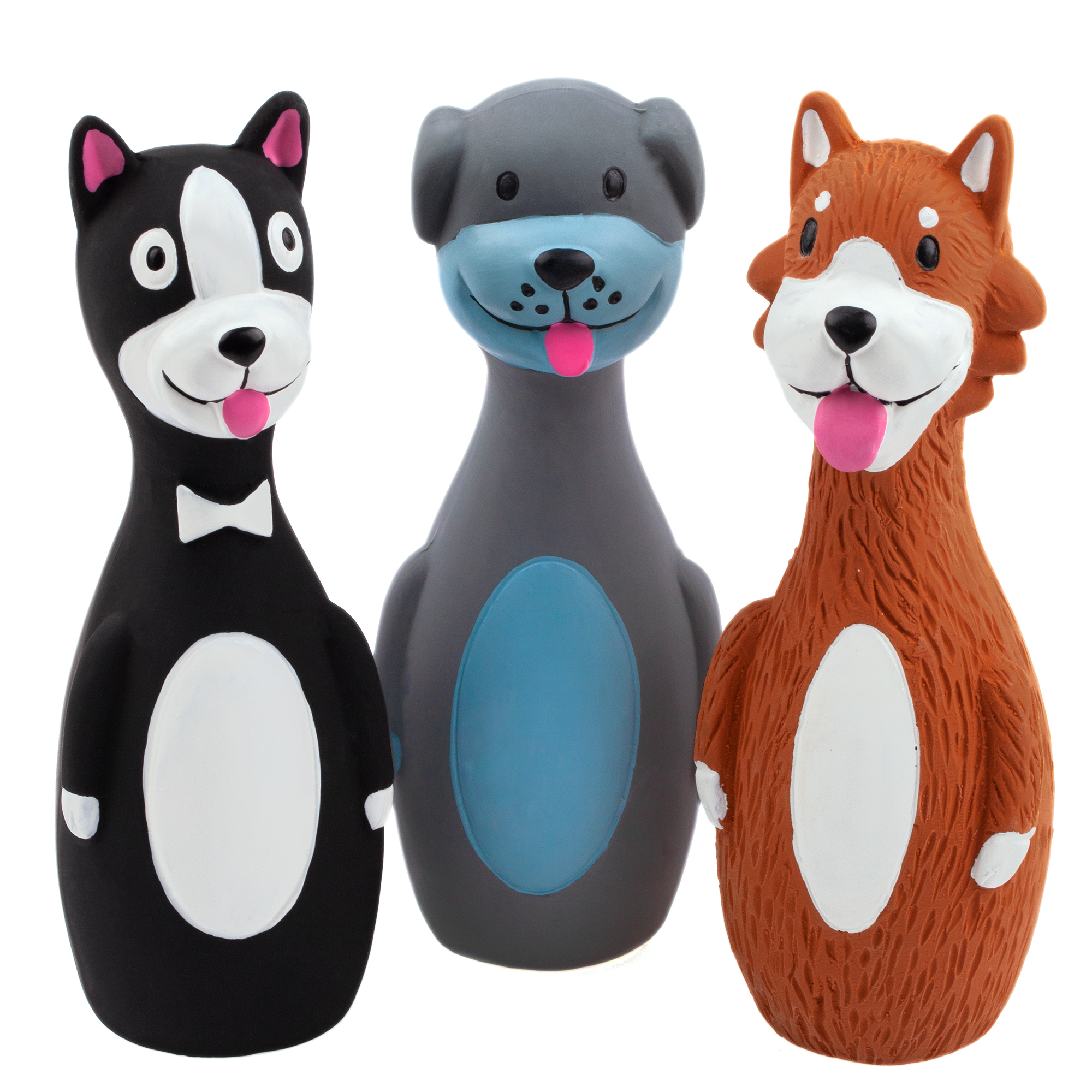 Chiwava 3 Pack 5.7 Inch Squeaky Latex Dog Toys Standing Stick Dog